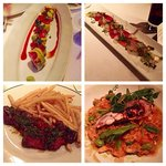 Dragon Roll, sashimi carpaccio, steak frites, and lobster risotto.