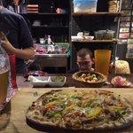 Chicken bechemel pizza with Namsan Pilsner beer