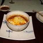 Baked onion soup at Le petit restaurant