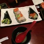 Handroll, rainbow roll and miso soup  Save room for icecream scoop at end