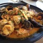 A mixed seafood dish