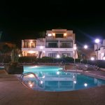 Night view across the pool