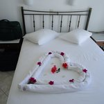 Heart shaped towel with flowers