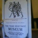 flyer for the Thar Heritage Museum