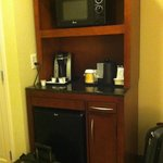 The mini fridge/coffee area