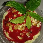 Avocado Mouse with raspberry coulis - Café Matisse