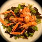 Shrimp Scampi & Prawns With Mesclun Salad With Balsamic Vinegar