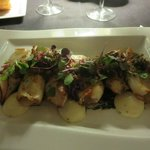 Grilled whole baby squid with great accompaniments