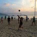 sunset volleyball game on the beach