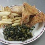 Fried wings, fries, collard greens