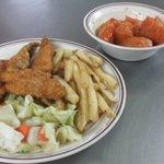 Wings, fries, salad, yams