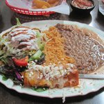 Combo plate of crispy tacos and steak enchilada