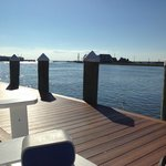 Adirondack chairs on the channel side boardwalk for relaxation!