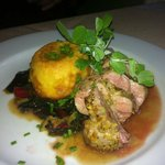 Pork tenderloin with corn pudding