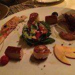 foie gras, scallops, crayfish and shrimp