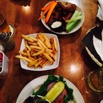 Veggie burger, fries, wings