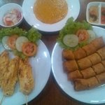 Chicken satay and spring roll very yummy.