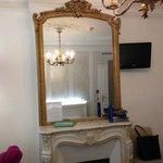 Inside the triple room, beautiful antique mirror