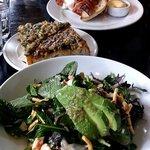 Chicken salad and garlic bread