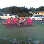 adirondack chairs, sunset