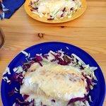 Veggie and chicken enchiladas