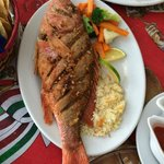 Whole fried Red Snapper