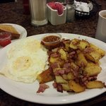 Corned beef hash and eggs, it's the best I have ever found in my travels