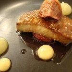 Foie gras figue crème pomme et crème citron
