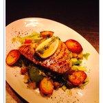 Tuna steak on sea salted pesto salad