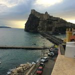 view from roof terrace towards Aragonese Castle