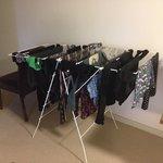 Broken washing rack propped onto chair