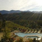 This is the view from my suite in the mid-afternoon overlooking lodge pool and river valley beyo