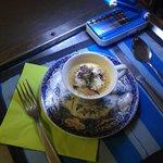 Cspuccino d'asperges et potiron , petits lardons