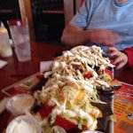 Nacho tower at Cleats restaurant in Marblehead Ohio. Enough for 4 to 5 people!