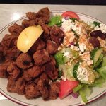 Dry ribs bone in with Greek salad