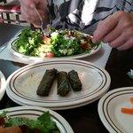 Lebanese Salad and Grape Leaves at Ara Lebanese Grill