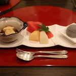 dessert – mochi, fruits, black sesame ice cream