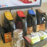 Pancake syrup selection, IHOP, St. Andrews Rd., Columbia, SC, October 2014