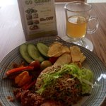 Signature vegetarian nasi goreng and lime drink