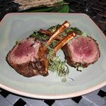 Herb Crusted Colorado Rack of Lamb with Indian Spiced Creamed Spinach, Seared Garlic and Potatoe