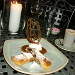 pear strudel with ice cream and caramel