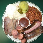 Brisket Link and Rib Combo Plate