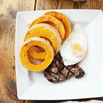 steak with egg and butternut squash