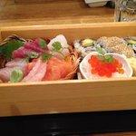 Sashimi/sushi portion of bento box