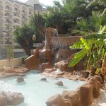 Waterfall at the front of Hotel