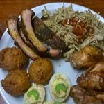 BBQ Pulled Pork, RIbs, Wings, Eggs and Hush Puppies!