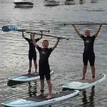 Balancing on the stand up paddle