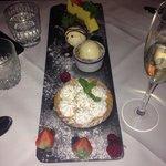 Trio of desserts.  Chocolate brownie Strawberry cheesecake  Lemon meringue