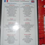 An example of the delicious buffet menu