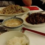 bean sprout with roasted duck, pork liver with XO sauce, sharp fin soup